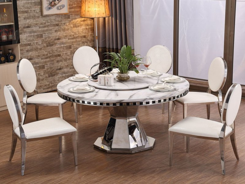 Buy Italian Modern 10 Seater White Top Round Marble Dining Table Online